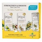 A´kin Strengthen & Smooth Hair Trio with Bonus Leave in Conditioner